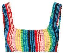 Gerafftes Bikini-oberteil mit Streifen