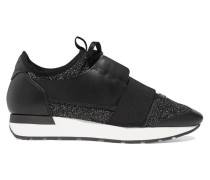 Race Runner Sneakers aus Stretch-strick in Metallic-optik und Leder