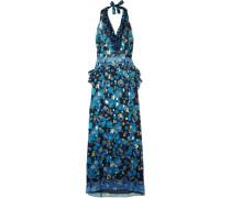 Curtain Of Stars Bedrucktes Neckholder-kleid aus Chiffon aus einer Seidenmischung