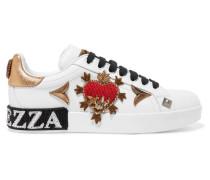 Verzierte Sneakers aus Leder mit Applikation