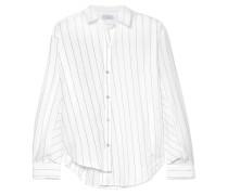 Asymmetrisches Hemd aus Gestreifter Baumwollpopeline