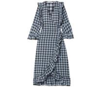 Charron Kariertes Wickelkleid aus Beschichtetem Seersucker aus einer Baumwollmischung