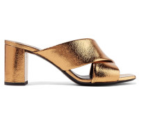 Loulou Mules aus Craquelé-leder in Metallic-optik