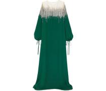 Robe aus Seiden-crêpe und -tüll