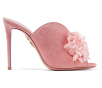 Lily Of The Valley Mules aus Veloursleder