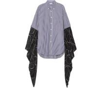 Oversized-hemd aus Gestreifter Baumwollpopeline und Bedrucktem Seiden-georgette