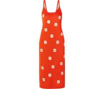 Besticktes Kleid aus einer Stretch-leinenmischung