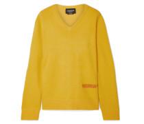 Bestickter Pullover aus einer Woll-baumwollmischung