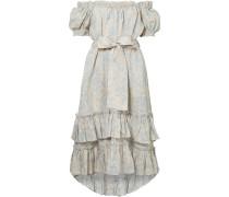 Helm Schulterfreies Kleid aus Gestuftem Leinen