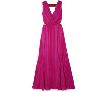 Rosa Wickelkleid aus Jacquard aus einer Seidenmischung