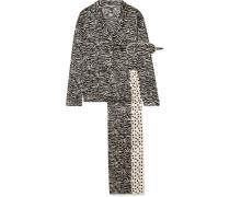 Scarlet Snuggling Pyjama und Schlafmaske aus Bedruckter Stretch-seide