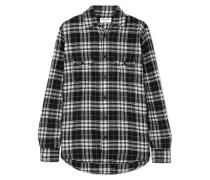 Kariertes Hemd aus Baumwollflanell in Knitteroptik