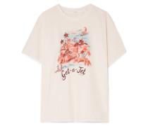 Eyes On Summer Bedrucktes T-shirt aus Jersey aus einer Leinen-baumwollmischung