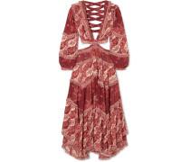 Eyes On Summer Bedrucktes Maxikleid aus Chiffon aus einer Baumwoll-seidenmischung