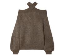 Schulterfreier Pullover aus Rippstrick in Metallic-optik