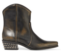 Ankle Boots aus Leder in Distressed-optik