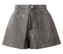 Shorts aus Lamé mit Falten