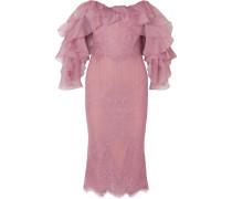 Schulterfreies Kleid aus Schnurgebundener Spitze und Organza