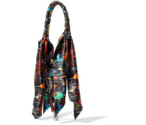 Taschenträger aus Bedrucktem Seidensatin und Leder