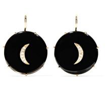 Ohrringe aus 14 Karat  mit Onyxen und Diamanten