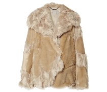 Oversized-mantel aus Faux Fur in Patchwork-optik