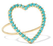 Open Heart Ring aus 18 Karat  mit Türkisen