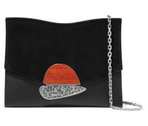 Curl Kleine Schultertasche aus Strukturiertem Leder und Veloursleder