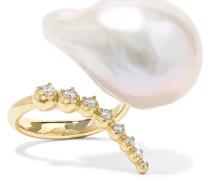 Ring aus 14 Karat  mit Perle und Diamanten
