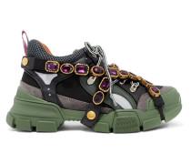 Flashtrek Verzierte Sneakers aus Mesh, Leder und Veloursleder