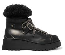 Ankle Boots aus Leder mit Shearling-besatz