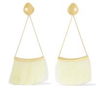 Verete Ohrringe mit Seidenbesatz und Perlen
