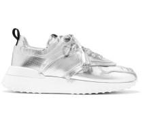 Perforierte Sneakers aus Metallic-leder