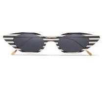 Marianne Cat-eye-sonnenbrille aus Gestreiftem Azetat und Goldfarbenem Metall