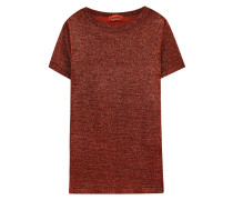 T-shirt aus Stretch-strick in Metallic-optik