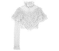 Verkürzte Bluse aus Beflocktem Tüll