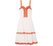 Boheme Besticktes Kleid aus Baumwollpopeline