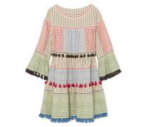 Minikleid aus Baumwoll-gaze mit Troddeln