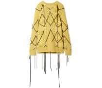 Bestickter Pullover aus einer Woll-mohairmischung
