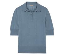 Polohemd aus Wolle mit Intrecciato-streifen