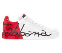 Sneakers aus Leder mit Logobemalung