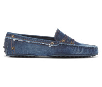 Gommino Loafers aus Denim in Distressed-optik
