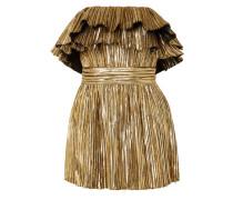 Trägerloses Minikleid aus Plissiertem Lamé
