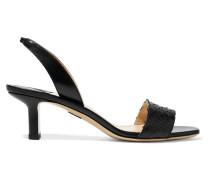 Longo Slingback-sandalen aus Leder und Pythonleder