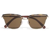 Goldfarbene Sonnenbrille Mit Cat-eye-rahmen Aus Azetat - Horn