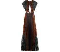 Plissierte Robe aus Lamé aus einer Seidenmischung
