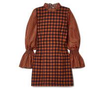 Ethno Pop Kariertes Minikleid aus einer Wollmischung und Seide
