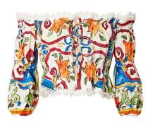 Maiolica Schulterfreies Oberteil aus Bedruckter Popeline aus einer Baumwollmischung