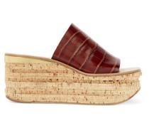 Camille Wedges aus Leder mit Krokodileffekt