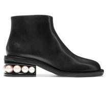 Casati Ankle Boots aus Leder mit Kunstperlen