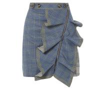 Minirock aus Kariertem Tweed mit Rüsche